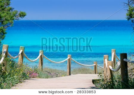 beach way to Illetes paradise beach in Formentera Balearic islands