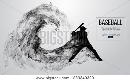 Abstract Silhouette Of A Baseball Player Batter On White Background From Particles, Dust, Smoke. Bas
