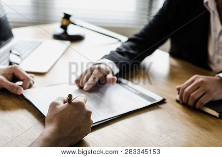 Client Customer Signing Contract And Discussing Business With Legal Consultants, Notary Or Justice L