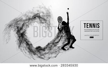 Abstract Silhouette Of A Tennis Player Man Male Isolated On White Background From Particles Dust, Sm