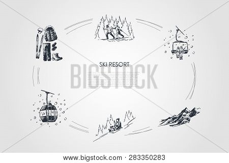Ski Resort - Ski Equipment And Clothes, Going By Sledges With Child, Skiing In Forest, Ski Lift And
