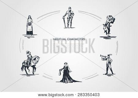 Medieval Characters - Knight, Troubadour, Buffon, Peasant Woman And Countess Vector Concept Set. Han