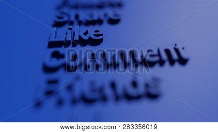 Blue Social Media Keywords On The Blue Background 3d Rendering