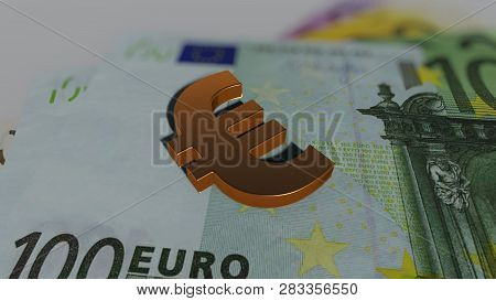 Golden Euro On  The Banknotes, 3d Rendering