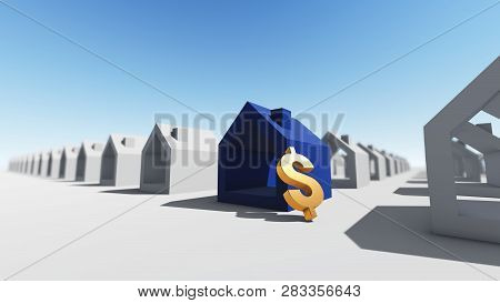 Blue House With Dollar Currency, 3d Rendering