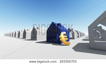 Blue House With Euro Currency, 3d Rendering