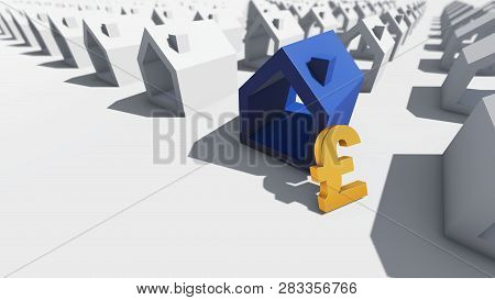 Blue House With Pound Currency, 3d Rendering