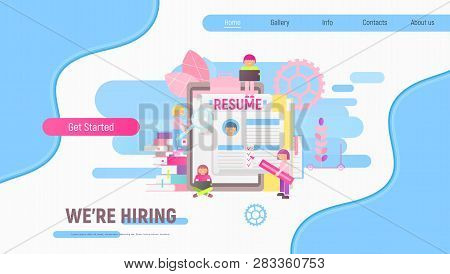 Landing Page Template Of Hiring, Job Interview And Recruitment - Young Men And Women Near Big Resume