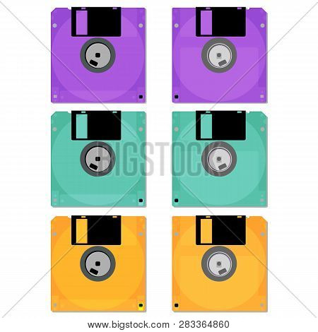 Old Floppy. Outdated Computer Technology. Vector Illustration.