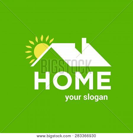 Home Vector Logo Template For Real Estate Or Buiding Company. Illustration Of Roof Of House With Sun