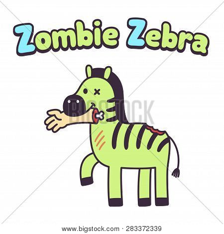 d17cc2a0b Funny Cartoon Zombie Zebra With Human Hand In Mouth. Cute Horror  Illustration For Letter Z