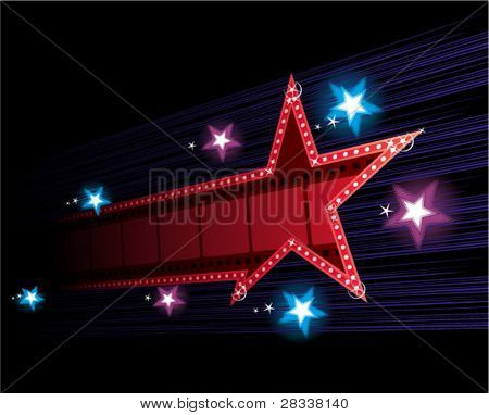Star shape neon for poster at cinema event