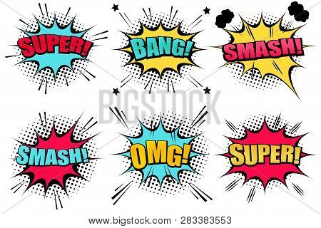 Comic Speech Bubbles Collection With Colorful Clouds Super Smash Bang Omg Wordings Star Halftone And