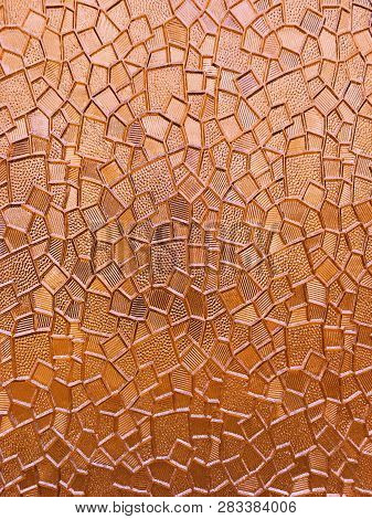 Glass Patterned Background. Decorative Glass Vintage Background. Abstract Wall Background From Glass