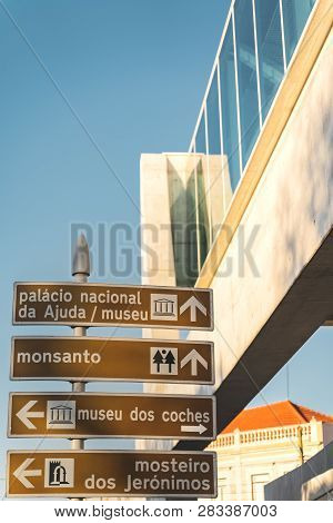 Lisbon, Portugal - 12/28/18: Street Directions Signs Belem. Monsanto, Coach Coches Museum, Jeronimos