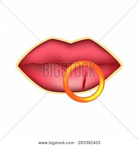Cracks in the lips. Dry chapped lips. Infographics. Vector illustration on isolated background. poster