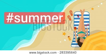 Hashtag Summer Concept Flat Vector Illustration Of Woman Sunbathing On The Beach And Relaxing Under