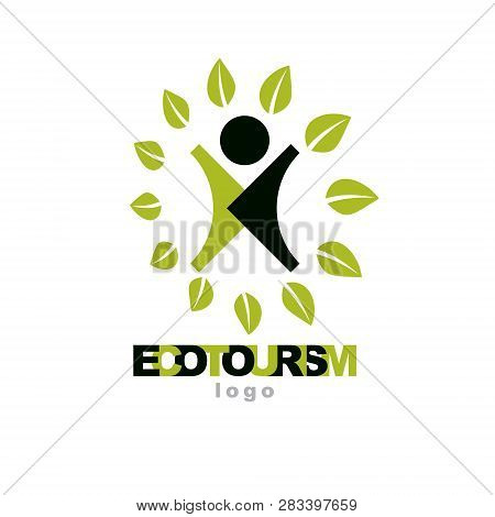 Vector Illustration Of Excited Abstract  Man With Raised Reaching Up. Ecotourism Conceptual Logo. We