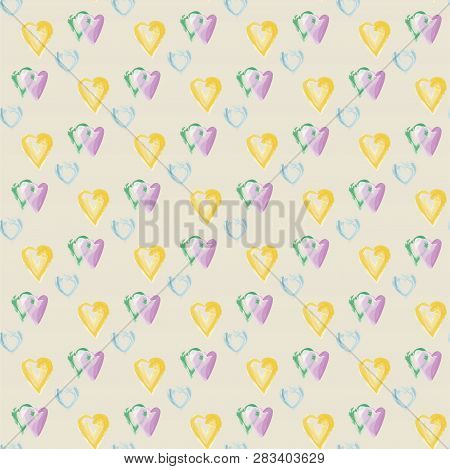 Seamless Pattern Of Hearts In Watercolor Style