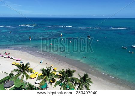 Cupe Beach, Porto De Galinhas, Brazil: Unique Experience Of Swimming With Fishs In Natural Pools. Pe