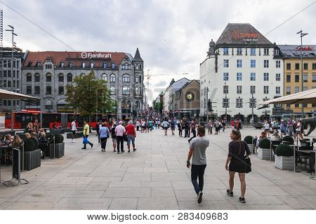 Oslo, Norway - August 3, 2018: Jernbanetorget Square In Oslo, Norway. Beginning Of The Tourist Stree