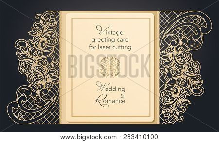 Foldable Greeting Card Gate For Laser Cutting. Delicate Pattern For A Wedding, A Romantic Party. Car