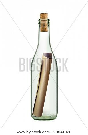 ancient scroll message in the bottle on white background