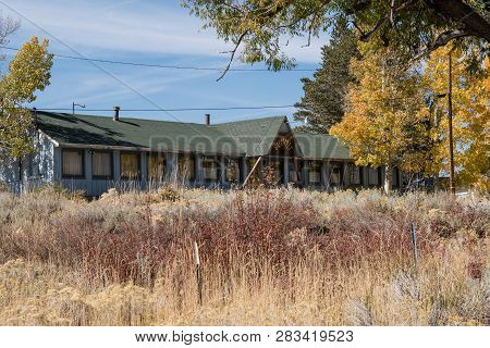 Lee Vining, California - October 18, 2018: The Abandoned Summit Restaurant And Lodge On Conway Summi