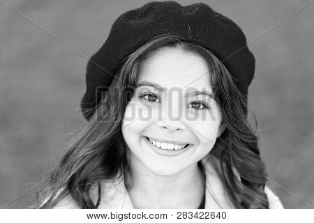 French Trend Fall Season. Charming French Style Fashionable Girl. Fall Fashion Concept. Hat Accessor