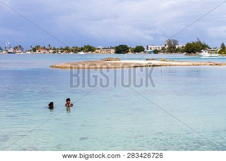 Majuro Atoll, Marshall Islands - Jan 4 2012: Two Middle Aged Local Micronesian Women In Closing Enjo