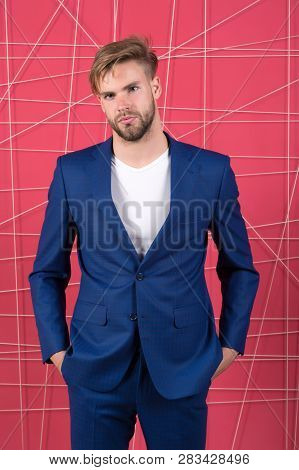 Man Well Groomed Manager Wear Elegant Formal Suit Pink Background. Manager Confident Wear Perfect Ou