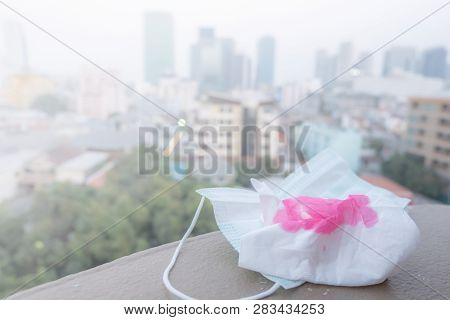 Napkin With Blood Because Of Air Pollution In The City Have Particulate Matters Or Pm 2.5 With City