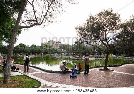 Lima, Peru January 23, 2019: The Lagoon Of El Olivar Forest In The District Of San Isidro In Lima, N