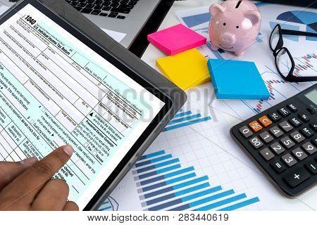 Businessman And Partner Using Calculator Money Financial Accounting Calaulating Finance, Tax