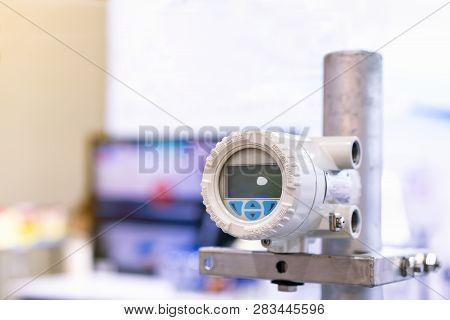 High Accuracy And Modern Flow Transmitter Set Up On Stand For Measuring Pressure Viscosity Density C