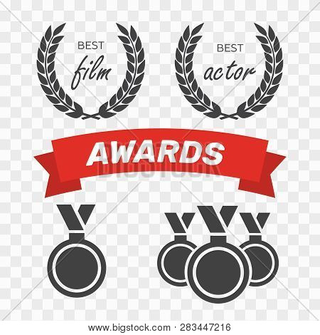 Awards For Best Film. Award Nomination Vector. Medal Award For Best Movie