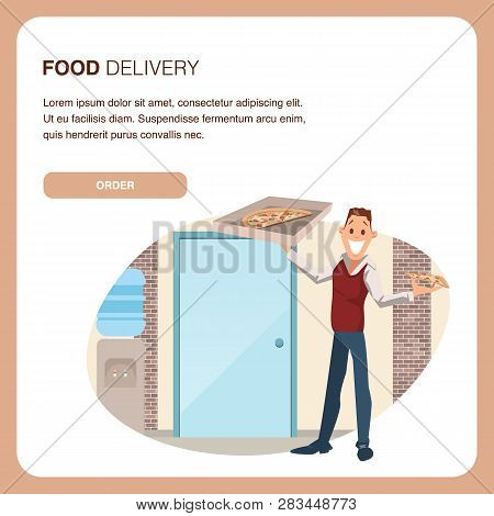 Happy Coworker Hold Carton Pizza Box At Workplace. Food Delivery Service. Man Wear Informal Suit Pla
