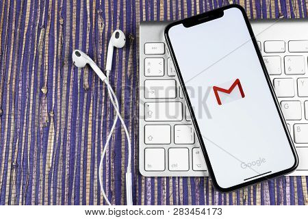 Sankt-petersburg, Russia, February 10, 2019: Google Gmail Application Icon On Apple Iphone X Smartph
