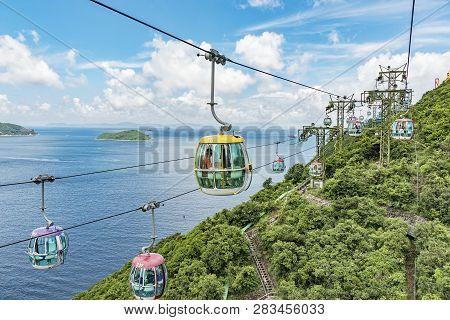 Hong Kong, China - July 24, 2017 : Cablecar In Ocean Park, Hongkong. Cable Car Carries Tourists Up T