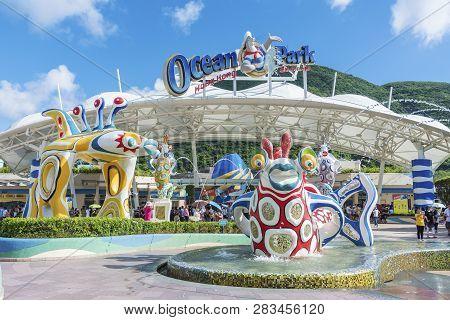 Hong Kong, China - July 24, 2017 : Main Entrance Of Ocean Park Hong Kong. Ocean Park Is An Animal Th
