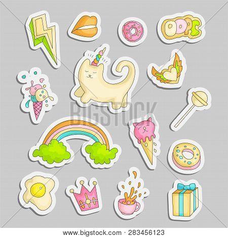 Cute Funny Girl Teenager Colored Stickers Set, Fashion Cute Teen And Princess Icons. Magic Fun Cute