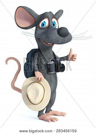3d Rendering Of A Cute Smiling Cartoon Mouse With A Hat And A Camera Doing A Thumbs Up, Looking Like