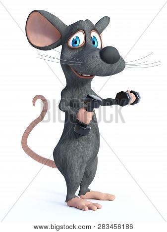3d Rendering Of A Cute Smiling Cartoon Mouse Exercising With Dumbbells. White Background.