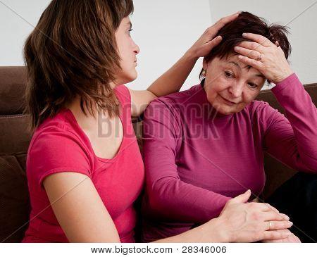 Big Problems - Daughter Comforts Senior Mother