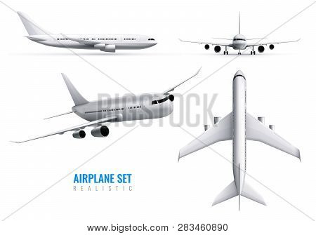 Civil Aircraft Realistic Identity Set Of White Airplane In Top Side And Front Views Isolated Vector
