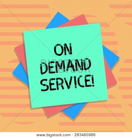 Word writing text On Deanalysisd Service. Business concept for allow users to provision raw cloud resources anytime Multiple Layer of Blank Sheets Color Paper Cardboard photo with Shadow. poster