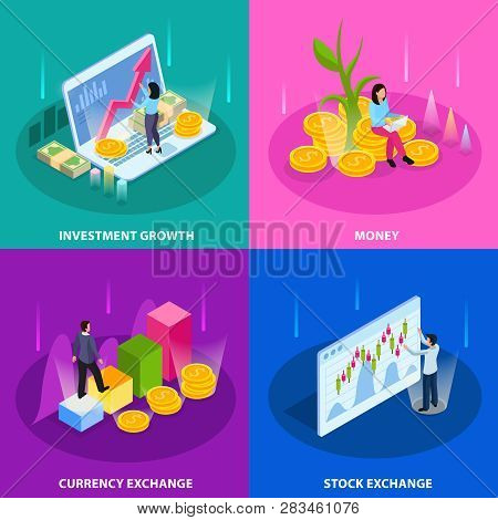 Stock Exchange Isometric Icon Set With Investment Growth Money Currency And Stock Exchange Descripti