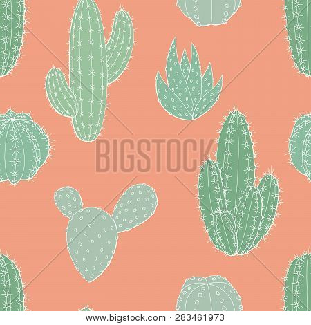 Cactus Plant Graphic Green Pink Color Seamless Pattern Background Sketch Illustration Vector