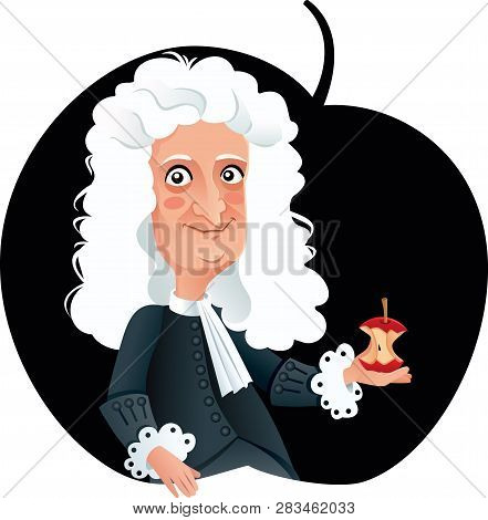 Sir Isaac Newton Vector Caricature Funny Portrait
