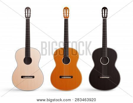 Realistic Set Of Three Classic Wooden Acoustic Guitars With Nylon Strings Isolated On White Backgrou